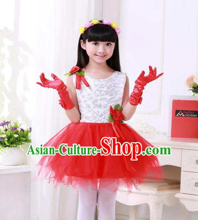 Top Grade Chinese Compere Professional Performance Catwalks Costume, Children Princess Red Veil Bubble Full Dress Modern Dance Dress for Girls Kids