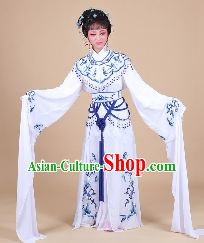 Traditional China Beijing Opera Young Lady Hua Tan Costume Female Water Sleeve Dance Blue Clothing, Ancient Chinese Peking Opera Diva Embroidery Dress