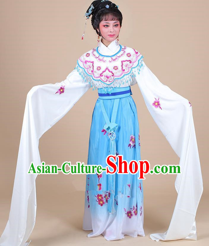 Traditional China Beijing Opera Young Lady Hua Tan Costume Female Water Sleeve Dance Blue Clothing, Ancient Chinese Peking Opera Diva Embroidery Plum Blossom Dress