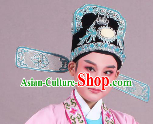 Traditional China Beijing Opera Young Men Hair Accessories Scholar Headwear, Ancient Chinese Peking Opera Niche Hat