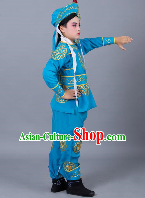 Traditional China Beijing Opera Takefu Costume, Ancient Chinese Peking Opera Wu-Sheng Warrior Embroidery Blue Clothing