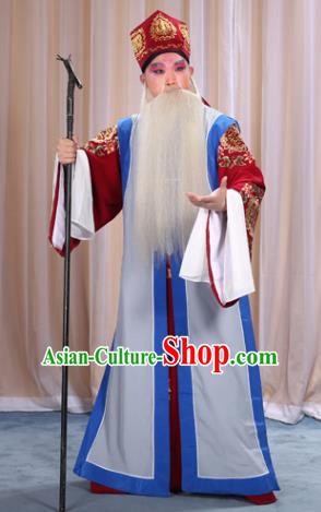 Top Grade Professional Beijing Opera Old Men Costume Long Waistcoat, Traditional Ancient Chinese Peking Opera Laosheng-role Clothing