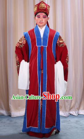 Top Grade Professional Beijing Opera Old Men Costume Long Red Waistcoat, Traditional Ancient Chinese Peking Opera Laosheng-role Ministry Councillor Clothing