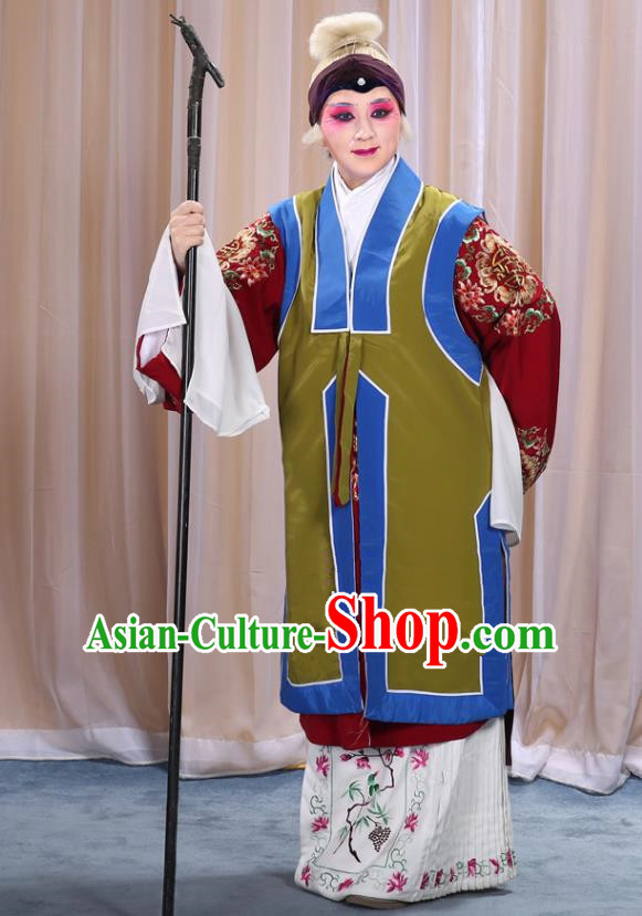 Top Grade Professional Beijing Opera Old Women Costume Long Green Waistcoat, Traditional Ancient Chinese Peking Opera Pantaloon Landlord Shiva Clothing