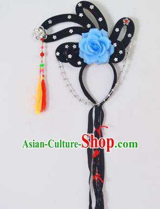 Traditional Handmade Chinese Classical Peking Opera Young Lady Hair Accessories and Wigs, China Beijing Opera Maidservants Diva Blue Flower Headwear