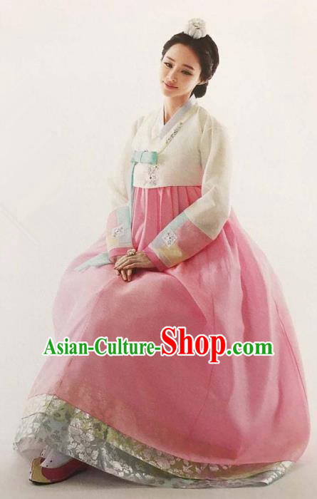 Traditional South Korean Handmade Embroidery Bride Hanbok Beige Blouse Full Dress, Top Grade Korea Hanbok Wedding Costume Complete Set for Women