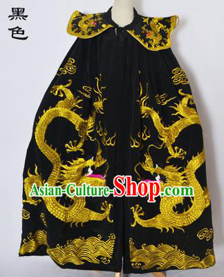 Traditional Chinese Professional Peking Opera General Costume Black Cloak, China Beijing Opera Swordplay Embroidered Dragons Cape