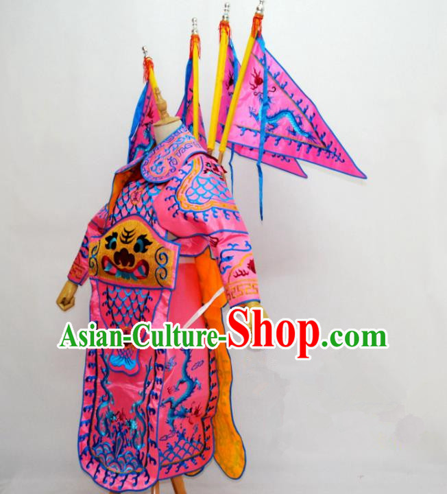Traditional Chinese Professional Peking Opera Takefu Costume, Children China Beijing Opera General Embroidered Pink Clothing