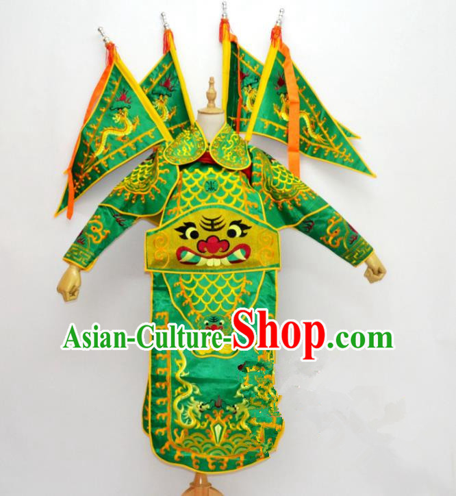Traditional Chinese Professional Peking Opera Takefu Costume, Children China Beijing Opera General Embroidered Green Clothing