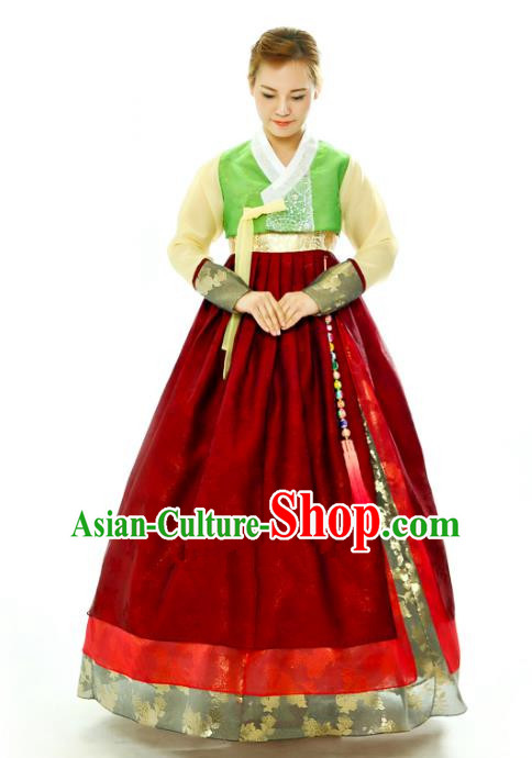 Traditional South Korean Handmade Hanbok Embroidery Red Wedding Full