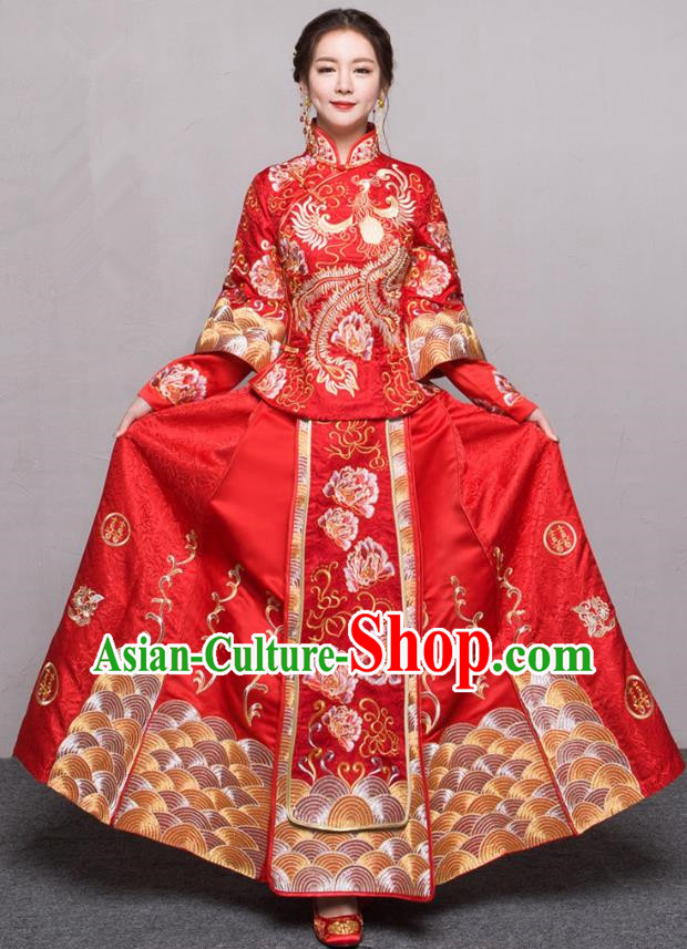 Traditional Ancient Chinese Wedding Costume Handmade Embroidery Peony Xiuhe Suits, Chinese Style Wedding Dress Red Dragon and Phoenix Flown Bride Toast Cheongsam for Women
