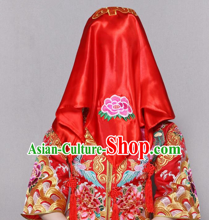 Traditional Ancient Chinese Wedding Embroidery Red Veil, Chinese Style Wedding Red Bridal Veil for Women
