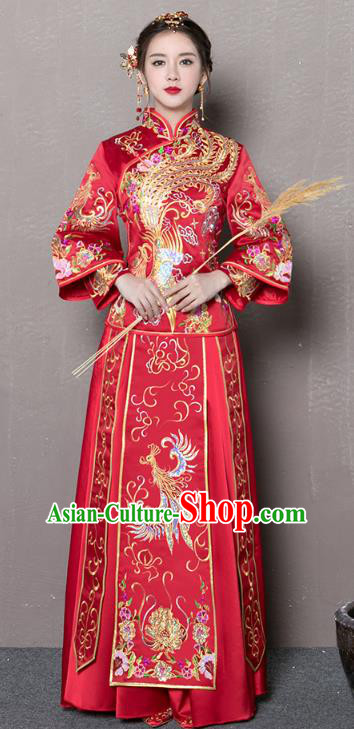 Traditional Ancient Chinese Wedding Costume Handmade Embroidery Peony Bottom Drawer Xiuhe Suits, Chinese Style Wedding Dress Red Embroidery Dragon and Phoenix Flown Bride Toast Cheongsam for Women
