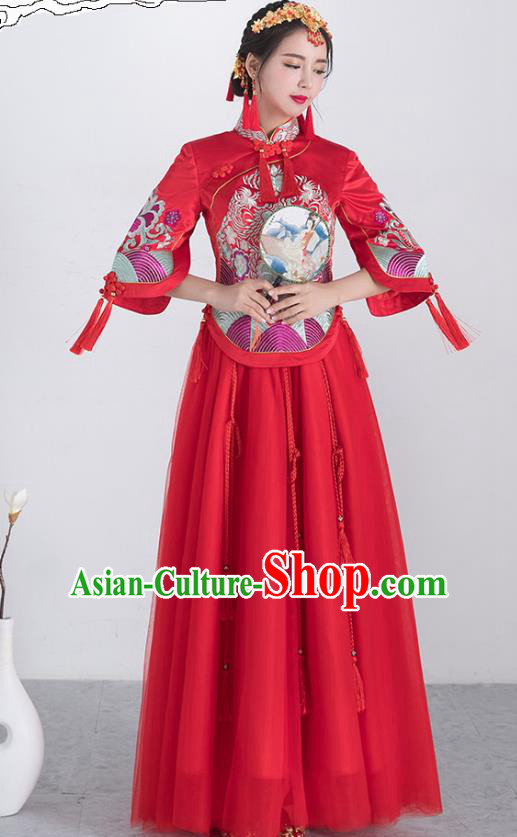 Traditional Ancient Chinese Wedding Costume Handmade Embroidery