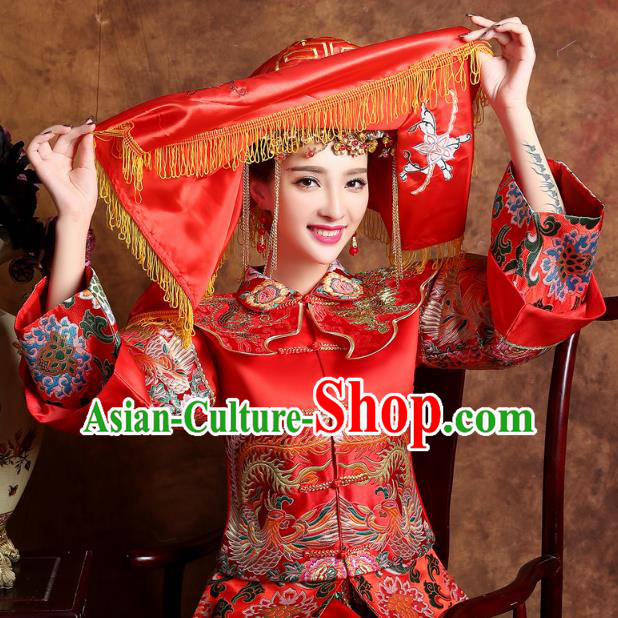 Traditional Ancient Chinese Wedding Embroidery Tassel Red Veil, Chinese Style Wedding Red Bridal Veil for Women