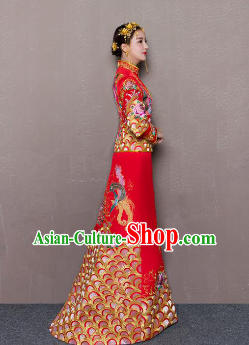 Traditional Ancient Chinese Wedding Costume Handmade Delicacy Embroidery Phoenix Peony Trailing Dress Xiuhe Suits, Chinese Style Wedding Dress Red Flown Bride Toast Cheongsam for Women