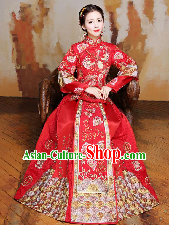 Traditional Ancient Chinese Wedding Costume Handmade Delicacy Full Embroidery Peony Phoenix XiuHe Suits, Chinese Style Wedding Dress Flown Bride Toast Cheongsam for Women