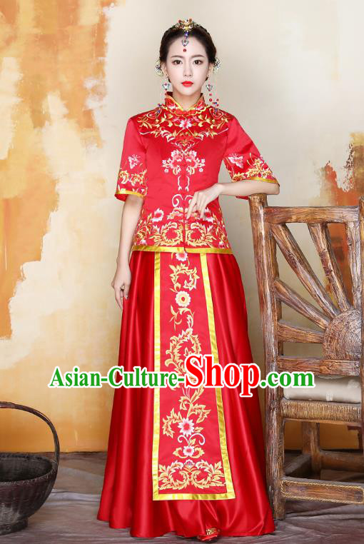 Traditional Ancient Chinese Wedding Costume Handmade Delicacy Embroidery Peony Bride XiuHe Suits, Chinese Style Hanfu Wedding Toast Cheongsam for Women