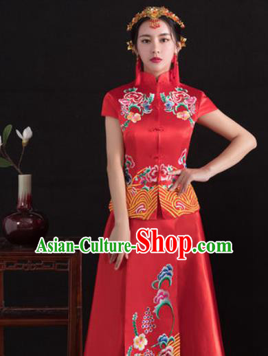 Traditional Ancient Chinese Wedding Costume Handmade Delicacy Full Embroidery Peony Short Sleeve XiuHe Suits, Chinese Style Hanfu Wedding Bride Toast Cheongsam for Women