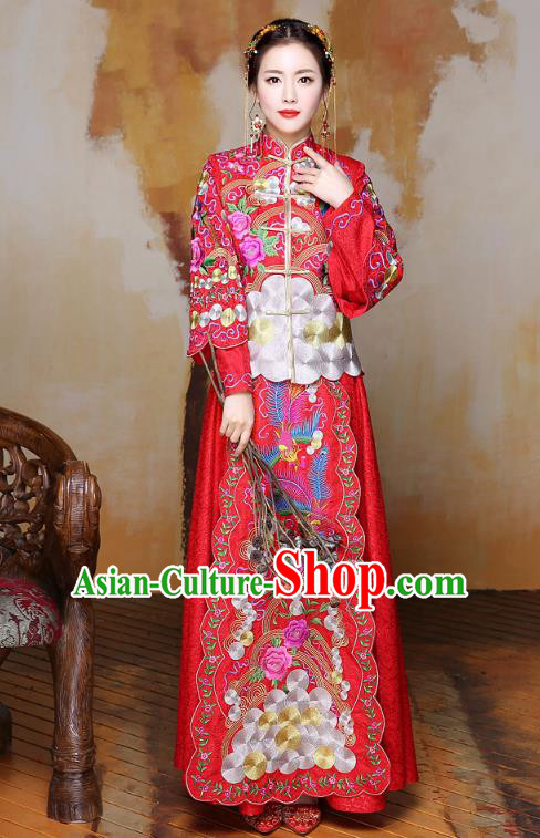 Traditional Ancient Chinese Wedding Costume Handmade Delicacy Colorful Embroidery Phoenix Peony Red XiuHe Suits, Chinese Style Hanfu Wedding Bride Toast Cheongsam for Women