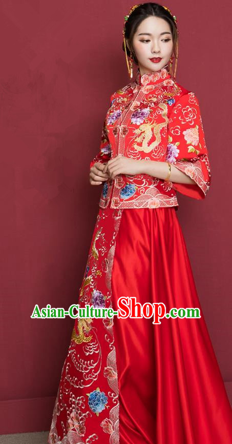 Traditional Ancient Chinese Wedding Costume Handmade Delicacy XiuHe Suits Embroidery Dragon Cheongsam Palace Bottom Drawer, Chinese Style Hanfu Wedding Bride Hanfu Clothing for Women