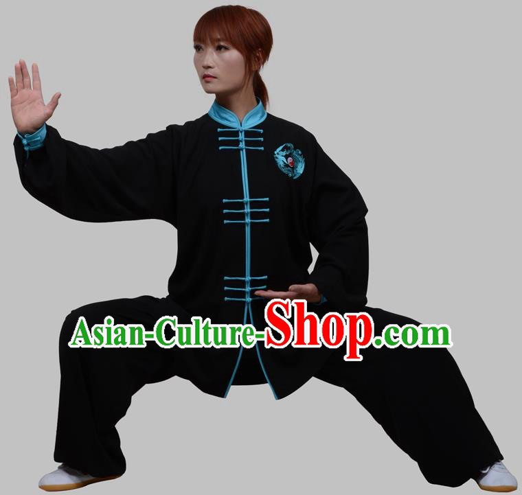 Top Grade China Martial Arts Costume Kung Fu Training Blue Plated Buttons Clothing, Chinese Embroidery Tai Ji Black Uniform Gongfu Wushu Costume for Women for Men