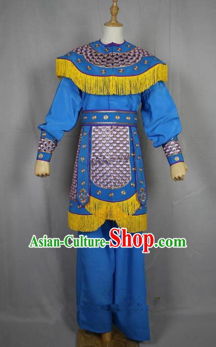Traditional Beijing Opera Swordplay Embroidered Costume Female Warrior Dress, Ancient Chinese Peking Opera Blues Embroidery Clothing