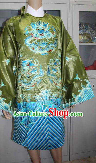Top Grade Professional Beijing Opera Old Women Costume Pantaloon Green Embroidered Robe, Traditional Ancient Chinese Peking Opera Landlord Shiva Embroidery Clothing