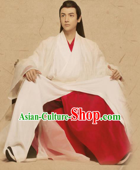 Traditional Chinese Ancient Swordsman Costume, Chinese Han Dynasty Prince Young Kawaler Clothing for Men