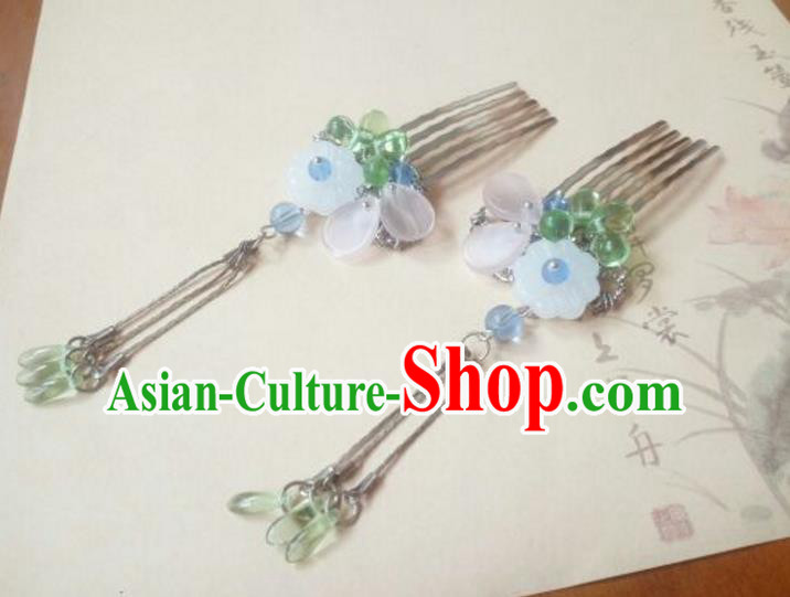Traditional Handmade Chinese Ancient Classical Hair Accessories Green Coloured Glaze Tassel Hair Comb for Women