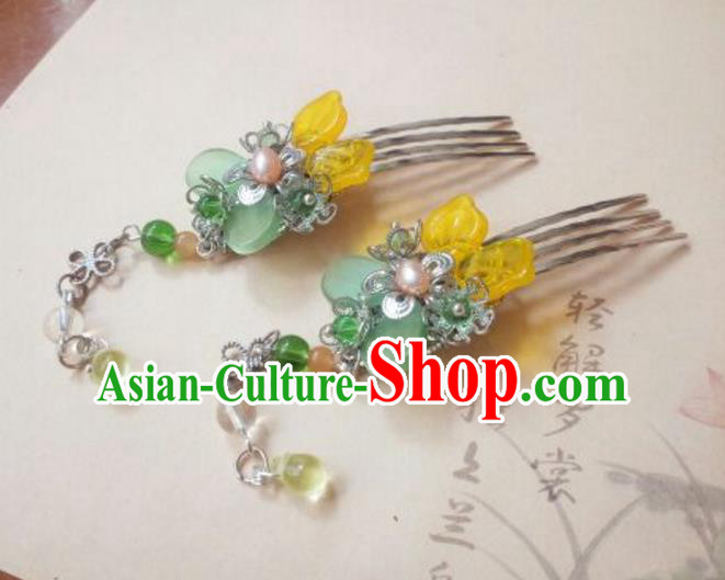 Traditional Handmade Chinese Ancient Classical Hair Accessories Hairpins Coloured Glaze Hair Comb Headwear for Women