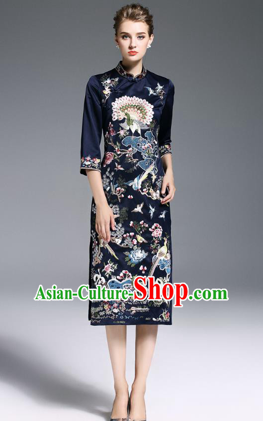 Top Grade Asian Chinese Costumes Classical Embroidery Black Plated Buttons Cheongsam, Traditional China National Slant Opening Embroidered Chirpaur Clothing for Women