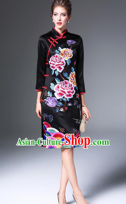 Top Grade Asian Chinese Costumes Classical Embroidery Peony Cheongsam, Traditional China National Embroidered Black Chirpaur Dress Qipao for Women
