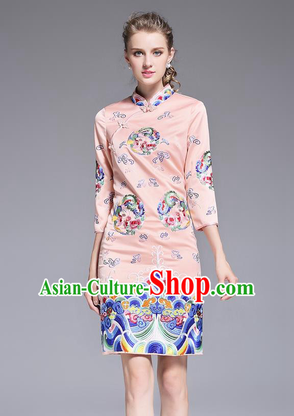 Top Grade Asian Chinese Costumes Classical Embroidery Plated Buttons Pink Cheongsam, Traditional China National Slant Opening Embroidered Chirpaur Clothing for Women