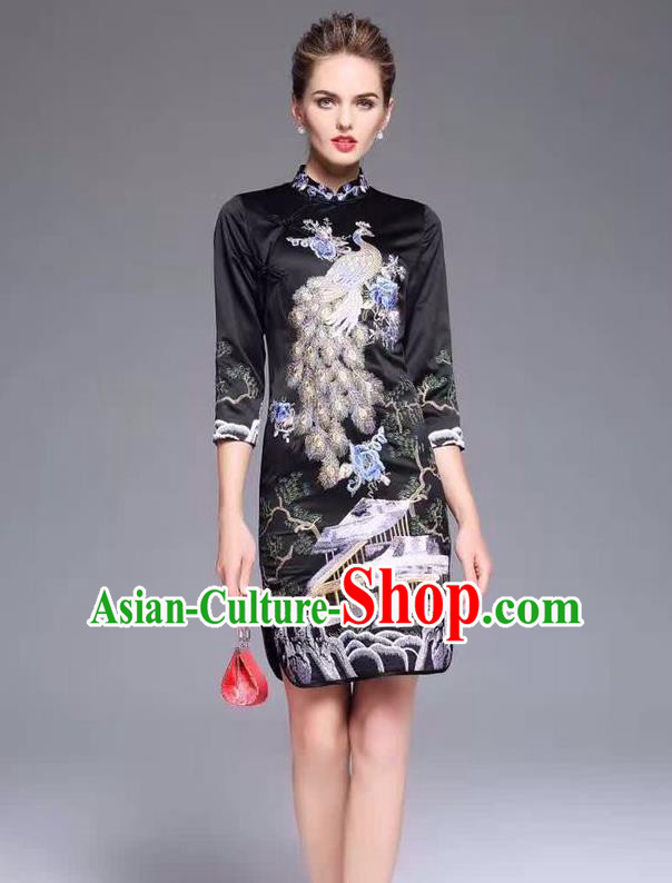Top Grade Asian Chinese Costumes Classical Embroidery Peacock Cheongsam, Traditional China National Middle Sleeve Chirpaur Plated Buttons Black Qipao for Women