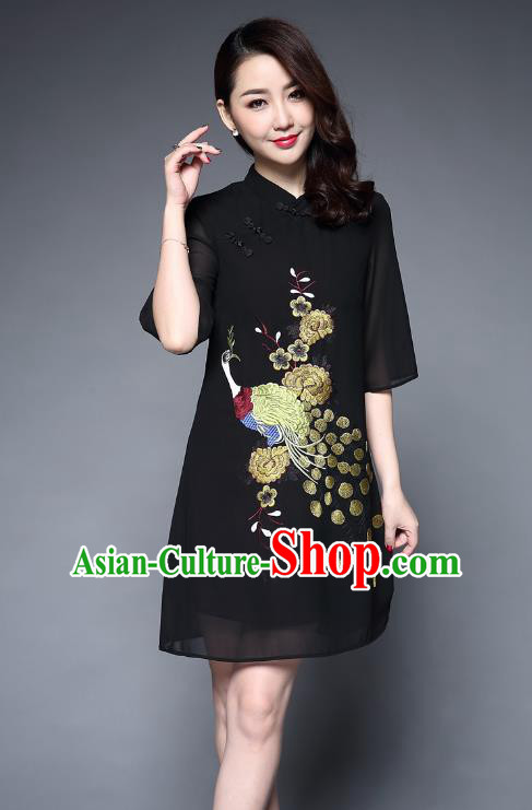 Top Grade Asian Chinese Costumes Classical Embroidery Peacock Short Black Cheongsam, Traditional China National Plated Buttons Chirpaur Dress Qipao for Women