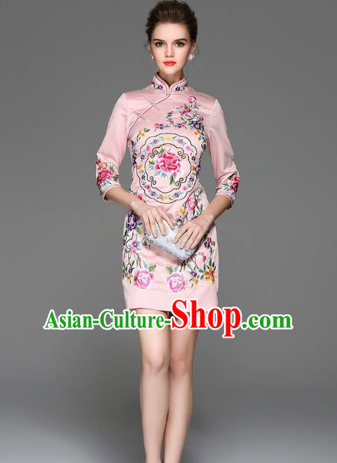 Top Grade Asian Chinese Costumes Classical Embroidery Peony Silk Pink Cheongsam, Traditional China National Plated Buttons Chirpaur Dress Qipao for Women