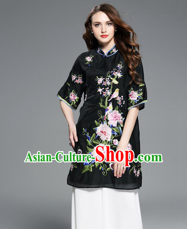 Asian Chinese Oriental Costumes Classical Embroidery Peony Black Cheongsam Upper Outer Garment, Traditional China National Chirpaur Tang Suit Stand Collar Blouse for Women