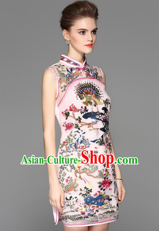 Asian Chinese Oriental Costumes Classical Palace Embroidery Pink Cheongsam, Traditional China National Chirpaur Tang Suit Stand Collar Qipao Dress for Women
