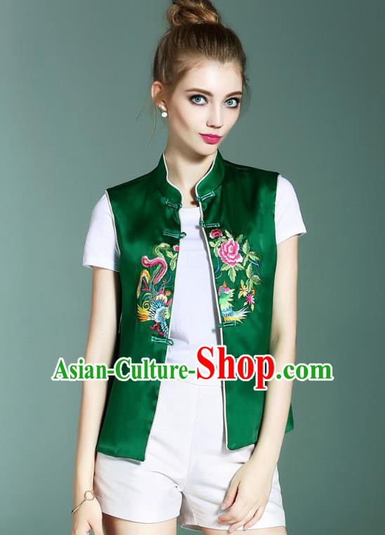 Asian Chinese Oriental Costumes Classical Palace Embroidery Green Vest, Traditional China National Chirpaur Tang Suit Plated Buttons Waistcoat for Women
