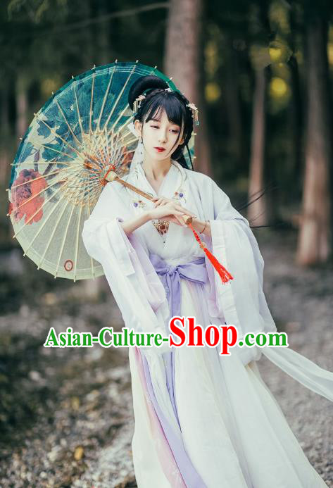 Traditional Asian Oriental China Costume Embroidery Palace Lady Cardigan and Dress Complete Set, Chinese Hanfu Ming Dynasty Princess Embroidered Dress for Women