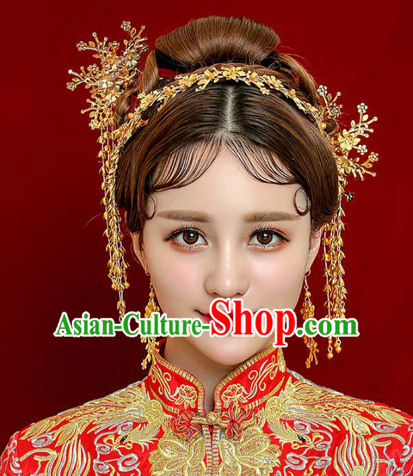 Aisan Chinese Handmade Classical Hair Accessories Golden Phoenix Coronet Complete Set, China Xiuhe Suit Tassel Hairpins Wedding Headwear for Women