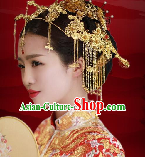Aisan Chinese Handmade Classical Hair Accessories Golden Butterfly Phoenix Coronet Complete Set, China Xiuhe Suit Tassel Hairpins Wedding Headwear for Women