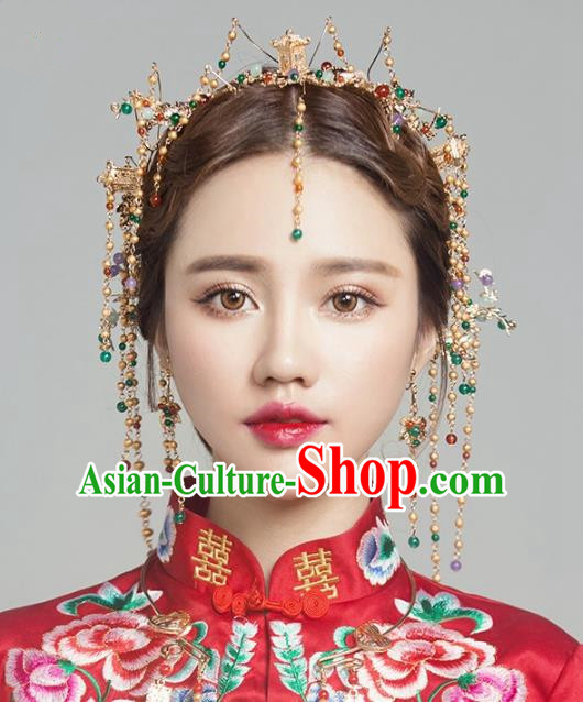 Aisan Chinese Handmade Classical Hair Accessories Phoenix Coronet Complete Set, China Xiuhe Suit Tassel Hairpins Wedding Headwear for Women