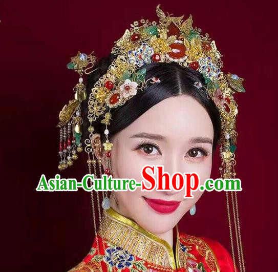 Aisan Chinese Handmade Classical Hair Accessories Tassel Phoenix Coronet Complete Set, China Xiuhe Suit Hairpins Wedding Headwear for Women