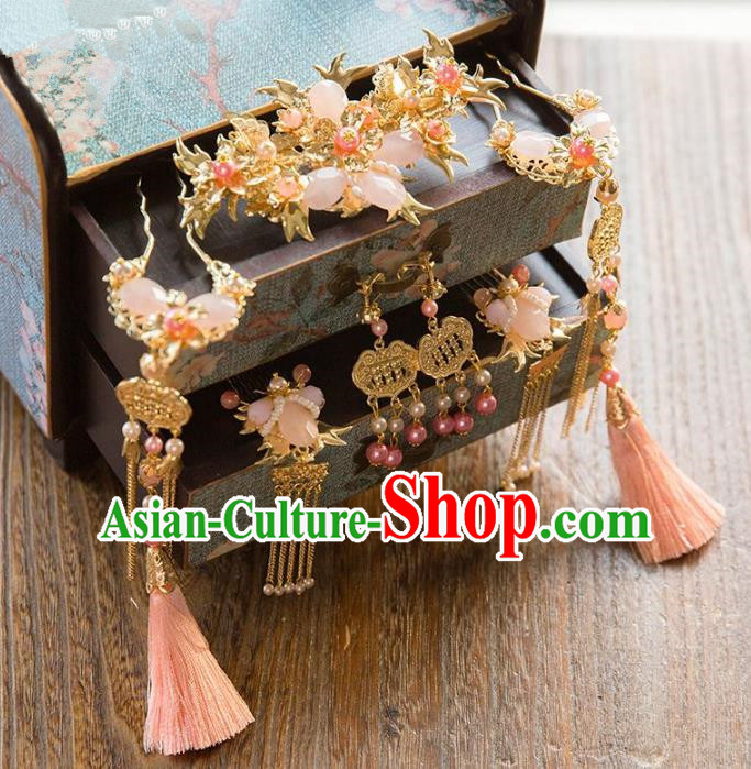 Aisan Chinese Handmade Classical Hair Accessories Pink Tassel Phoenix Coronet Complete Set, China Xiuhe Suit Hairpins Wedding Headwear for Women