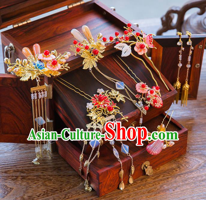 Aisan Chinese Handmade Classical Hair Accessories Pink Pearls Phoenix Coronet Complete Set, China Xiuhe Suit Hairpins Wedding Headwear for Women