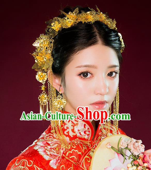 Aisan Chinese Handmade Classical Hair Accessories Golden Phoenix Coronet Complete Set, China Xiuhe Suit Hairpins Wedding Headwear for Women