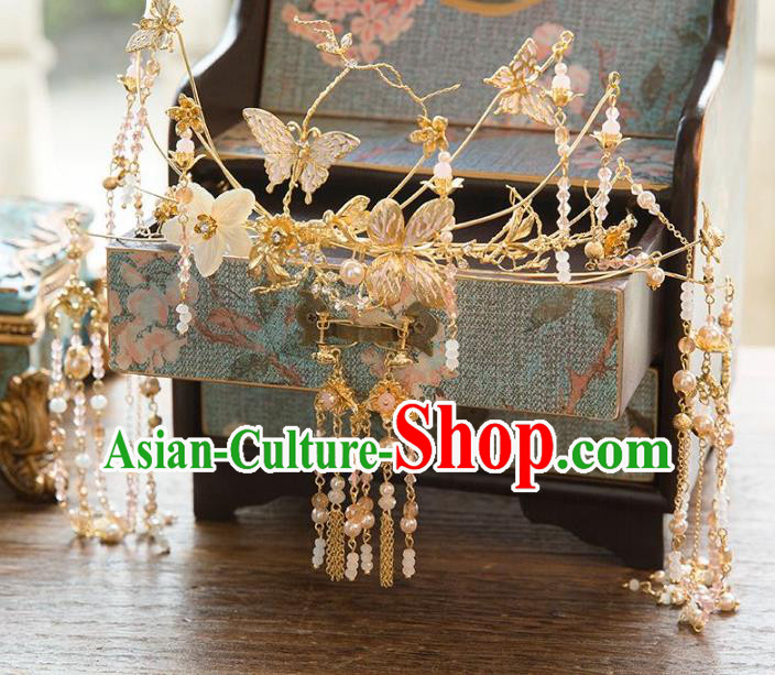 Aisan Chinese Handmade Classical Hair Accessories Tassel Butterfly Phoenix Coronet, China Xiuhe Suit Hairpins Wedding Headwear for Women