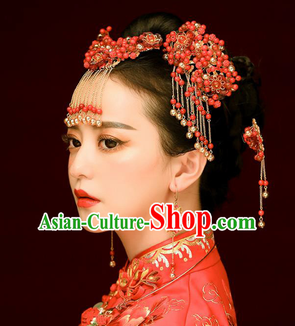 Aisan Chinese Handmade Classical Hair Accessories Red Beads Phoenix Coronet Complete Set, China Xiuhe Suit Hairpins Wedding Headwear for Women